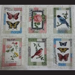 Látkové obdélníky 8,5 x 12,5 cm - Romantic