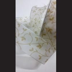 Stuha bílá se zlatými kvítky