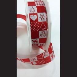Červená vánoční stuha s obrázky