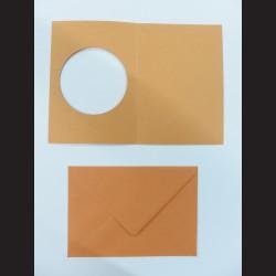 Obálka s přáním - skořicová s oknem, C6