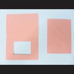 Obálka s přáním - starorůžová s oknem, C6