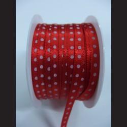 Fialová stuha s bílým puntíkem, 5mm