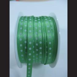 Zelená stuha s bílým puntíkem, 5mm