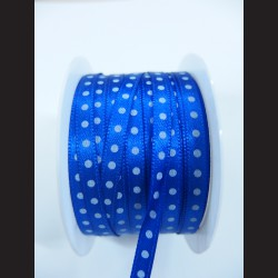 Tmavě modrá stuha s bílým puntíkem, 5mm