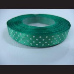 Zelená stuha s bílými puntíky