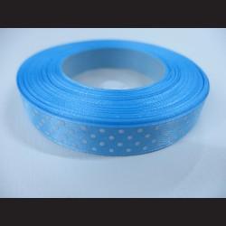 Modrá stuha s bílými puntíky