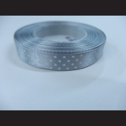 Světle šedá/stříbrná stuha s bílými puntíky