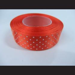 Tmavě oranžová stuha s bílými puntíky, širší