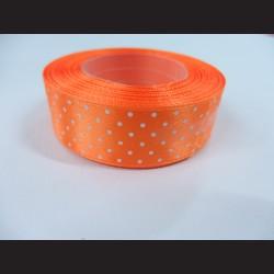 Světle oranžová stuha s bílými puntíky, širší