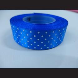 Tmavě modrá stuha s bílými puntíky, širší