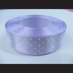 Světle fialová stuha s bílými puntíky, širší
