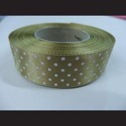 Olivově zelená stuha s bílými puntíky, širší