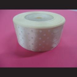 Krémová stuha s bílými puntíky, široká