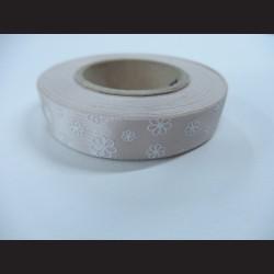 Stuha s kvítky - šedá/stříbrná, 15mm