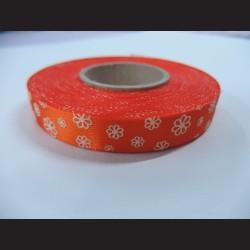 Stuha s kvítky - oranžová, 15mm