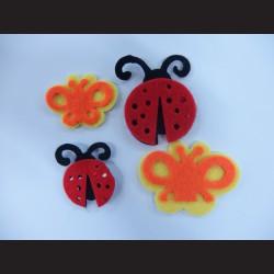 Nálepky z filcu - berušky a motýli, 12ks