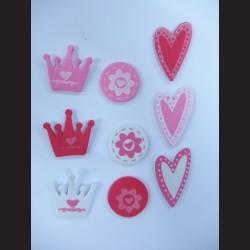Pěnové samolepky - srdce, korunky, květy, 120ks