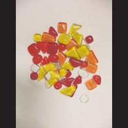 Mozaikové skleněné kamínky - mix velikostí - oranžová, 250 g