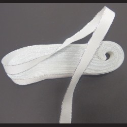 Stuha bílá 9mm, stříbrný okraj