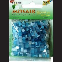 Mozaika pryskyřicová - modrý mix, 5x5 mm