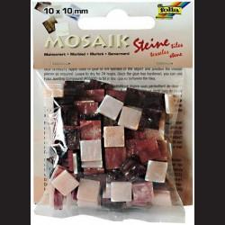 Mozaika pryskyřicová - červený mramor, 10x10 mm