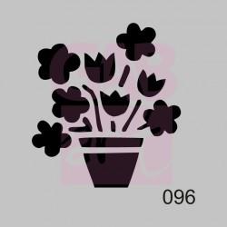 Kytky v květináči - šablona 096