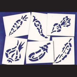 Papírové šablony ZELENINA- 6ks