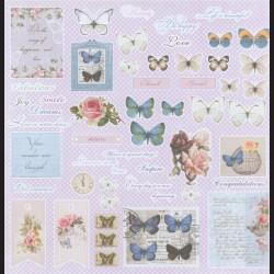 Papír na scrapbook 30,5 x 30,5 cm - Motýli a růže