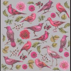 Papír na scrapbook 30,5 x 30,5 cm - Ptáčci růžoví