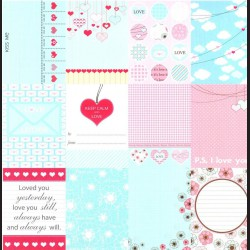 Papír na scrapbook 30,5 x 30,5 cm - Kartičky Love