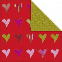 Papír na scrapbook 30,5 x 30,5 cm - Srdíčka červená