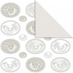 Papír na scrapbook 30,5 x 30,5 cm - Ptáčci ovál