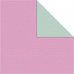 Papír na scrapbook 30,5 x 30,5 cm - Kytičky růžové/zelené