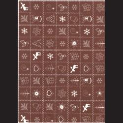 Fotokarton  A4 vánoční vzor hnědý, tvrdý karton 300g vhodný na výrobu přání, tvoření s dětmi, scrapbook a další tvoření