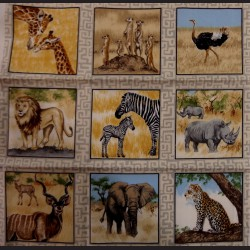 Látkové čtverce 8 x 8 cm - Zvířátka safari
