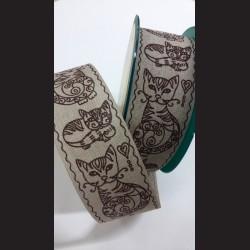 Textilní stuha Kočky