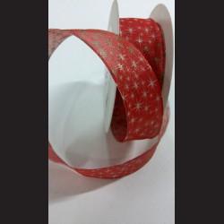 Červená vánoční stuha s hvězdičkami