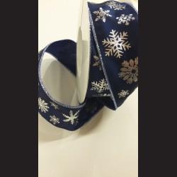 Modrá vánoční stuha s vločkami