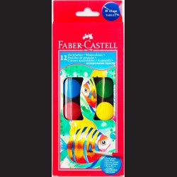 Vodové barvy Faber-Castell, 12 barev, 30 mm