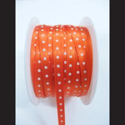 Oranžová stuha s bílým puntíkem, 5mm
