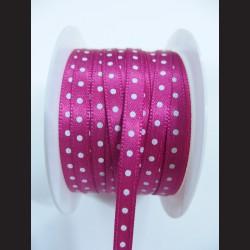 Růžová stuha s bílým puntíkem, 5mm