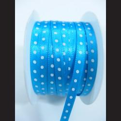 Světle modrá stuha s bílým puntíkem, 5mm