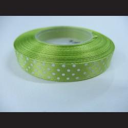 Světle zelená stuha s bílými puntíky, 12mm