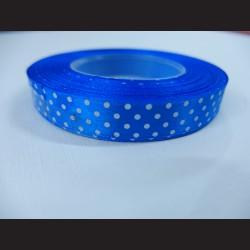 Tmavě modrá stuha s bílými puntíky
