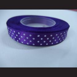 Tmavě fialová stuha s bílými puntíky