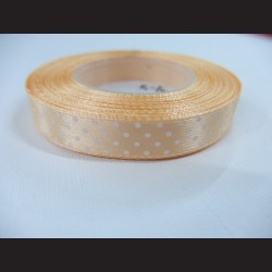 Meruňková stuha s bílými puntíky
