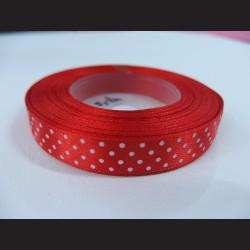 Červená stuha s bílými puntíky, 12mm