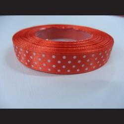 Oranžová stuha s bílými puntíky, 12mm