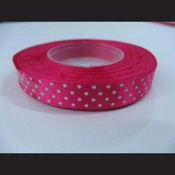 Tmavě růžová stuha s bílými puntíky