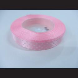Světle růžová stuha s bílými puntíky